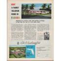 """1961 Florida Vacation Ad """"Rent a Family Vacation Home in Florida"""""""