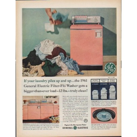 """1961 General Electric Ad """"If your laundry piles up"""""""