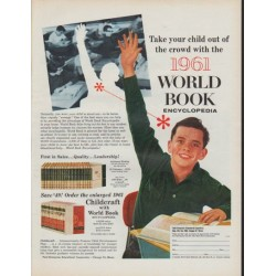 "1961 World Book Encyclopedia Ad ""Take your child out of the crowd"""