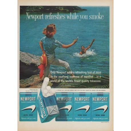 "1961 Newport Cigarettes Ad ""refreshes while you smoke"""