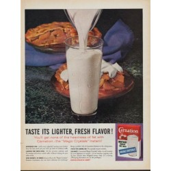 "1961 Carnation Milk Ad ""Taste its lighter, fresh flavor !"""