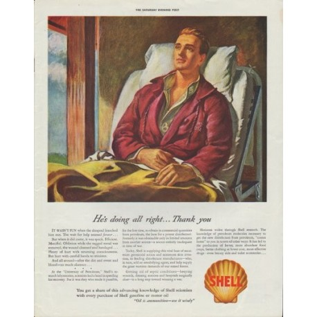 """1942 Shell Oil Ad """"He's doing all right ... Thank you"""""""