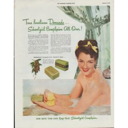 "1942 Palmolive Ad ""Schoolgirl Complexion All Over!"""