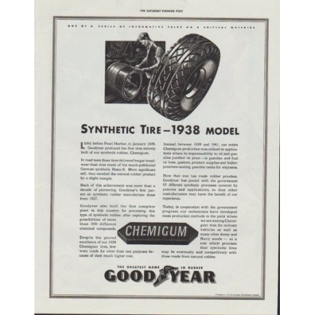 "1942 Goodyear Ad ""Synthetic Tire ~ 1938 model"""
