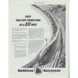 "1942 American Railroads Ad ""Gets Things Done"""