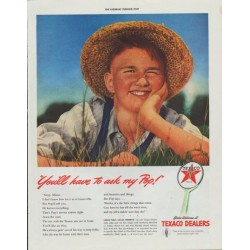 "1942 Texaco Ad ""You'll have to ask my Pop!"""