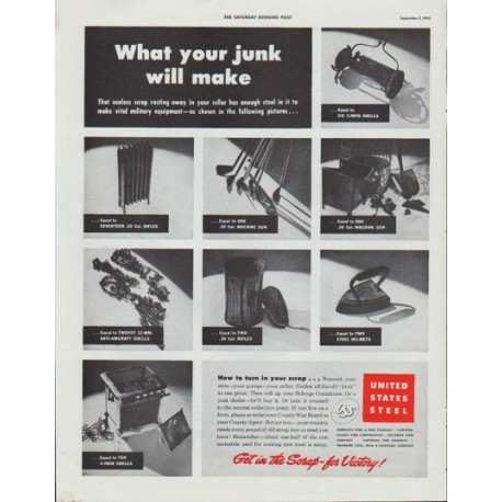 "1942 United States Steel Ad ""What your junk will make"""