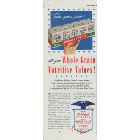 "1942 Kellogg's Ad ""Whole Grain Nutritive Values!"""
