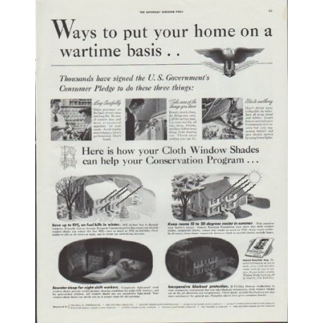 "1942 Cloth Window Shades Ad ""Ways to put your home on a wartime basis ..."""