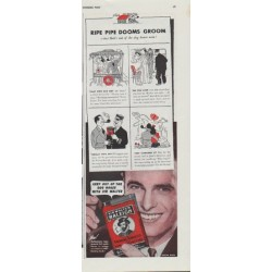 """1942 Sir Walter Raleigh Ad """"Ripe Pipe Dooms Groom"""""""