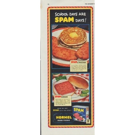 "1942 Hormel Ad ""School Days Are Spam Days!"""