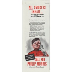 "1942 Philip Morris Ad ""All Smokers Inhale"""