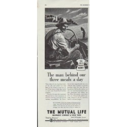 "1942 The Mutual Life Insurance Company of New York Ad ""The man"""