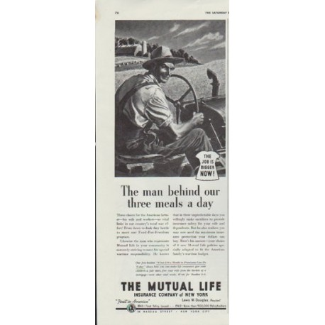 """1942 The Mutual Life Insurance Company of New York Ad """"The man"""""""