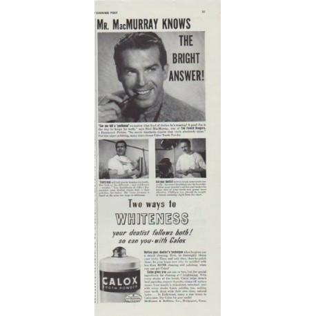"1942 Calox Ad ""Mr. MacMurray knows the bright answer!"""