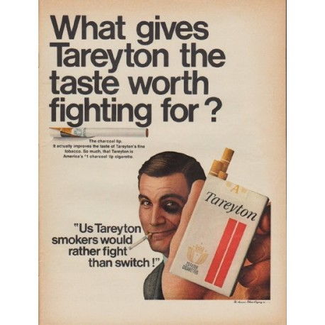 "1967 Tareyton Ad ""taste worth fighting for"""
