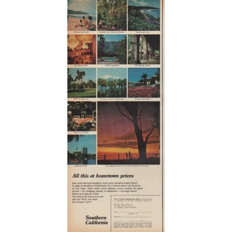 "1967 Southern California Ad ""All this at hometown prices"""