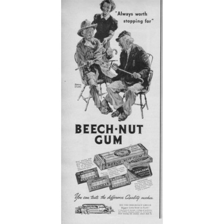"1937 Beech-Nut Gum Ad ""Worth Stopping For"""