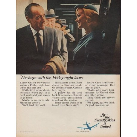 "1967 United Airlines Ad ""The boys with the Friday night faces."""