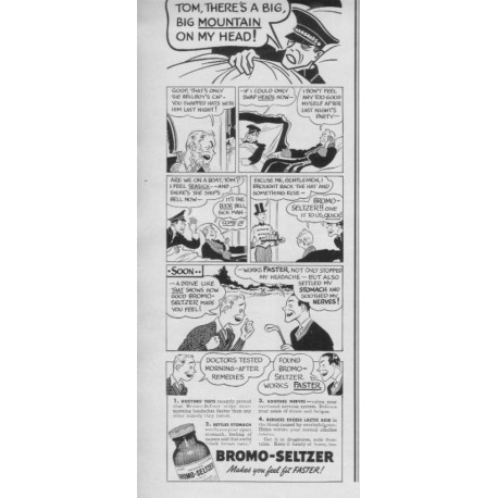 """1937 Bromo-Seltzer Ad """"Feel Fit Faster!"""""""