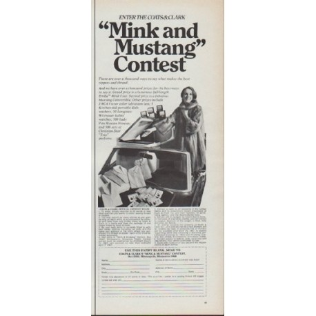 """1967 Coats and Clark Ad """"Mink and Mustang Contest"""""""