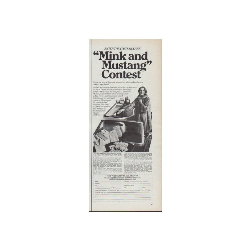 1967 Coats And Clark Vintage Ad Quot Mink And Mustang Contest Quot