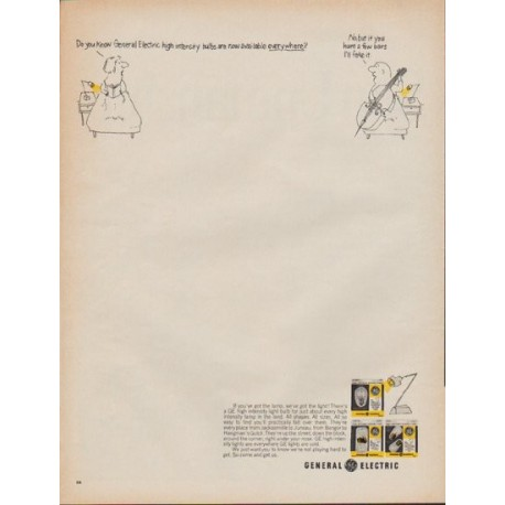 """1967 General Electric Ad """"high intensity bulbs"""""""