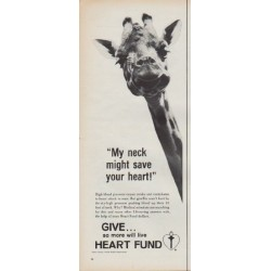"1967 Heart Fund Ad ""My neck might save your heart!"""