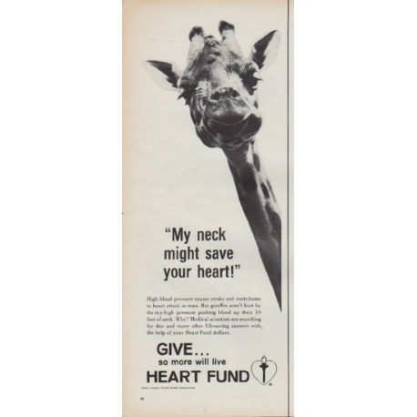 """1967 Heart Fund Ad """"My neck might save your heart!"""""""
