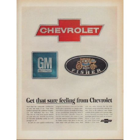 """1967 Chevrolet Ad """"Get that sure feeling from Chevrolet"""""""
