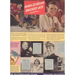 "1937 Camel Cigarettes Ad ""Hockey Ace"" w/ Red Wings' Herb Lewis"