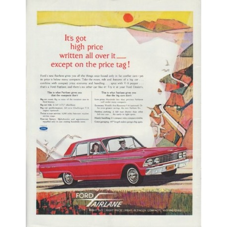 "1962 Ford Fairlane Ad ""It's got high price written all over it"""