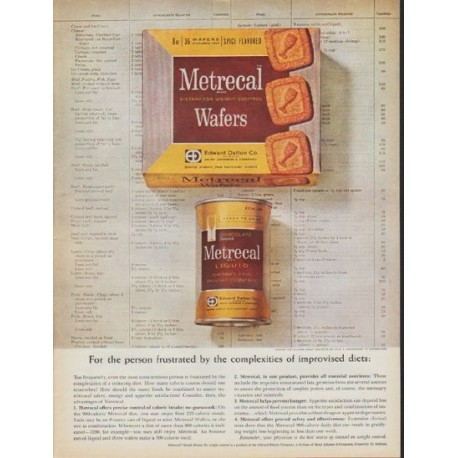 "1962 Metrecal Ad ""complexities of improvised diets"""