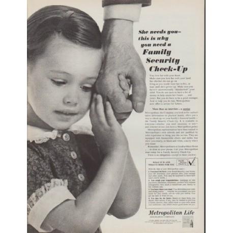 "1962 Metropolitan Life Ad ""She needs you"""