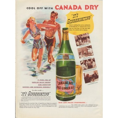 "1937 Canada Dry Ginger Ale Ad ""It's Gingervating"""