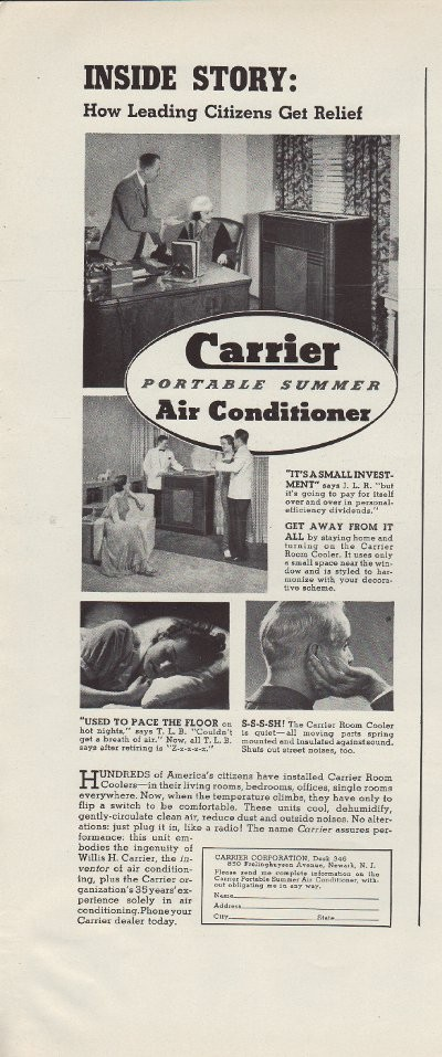 1937 Carrier Air Conditioner Ad Quot Leading Citizens Quot