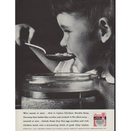 "1962 Lipton Ad ""Who wants to wait"""