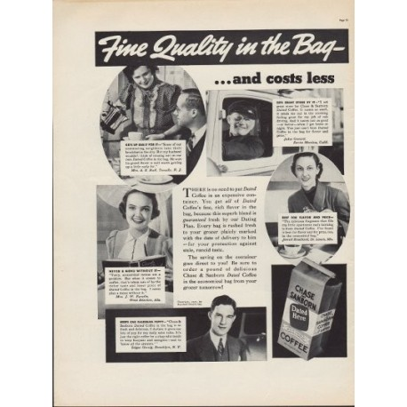 "1937 Chase & Sanborn Coffee Ad ""In The Bag"""
