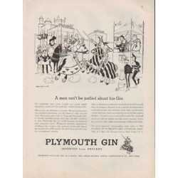 "1959 Plymouth Gin Ad ""A man can't be jostled about his Gin"""