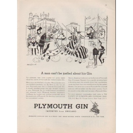 """1959 Plymouth Gin Ad """"A man can't be jostled about his Gin"""""""
