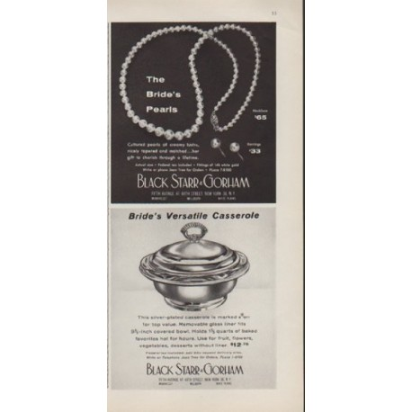 "1959 Black Starr & Gorham Ad ""The Bride's Pearls"""