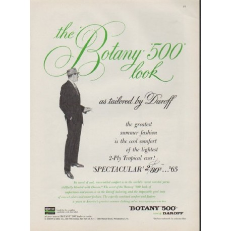 "1959 Botany 500 Ad ""as tailored by Daroff"""