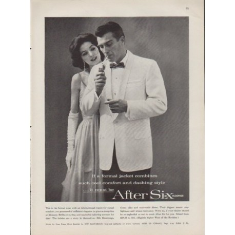 "1959 After Six Ad ""cool comfort and dashing style"""